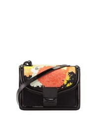 Dries Van Noten Floral Print Patent Satchel Bag Black Pattern