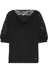 Just Cavalli Draped Corded Lace Paneled Crepe De Chine Blouse Black
