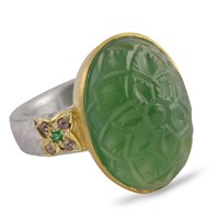 Emma Chapman Jewels Samsara Carved Tsavorite And Diamond Ring Green