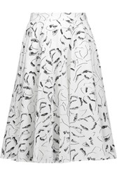 Raoul Ivy Pleated Printed Cotton Blend Skirt White