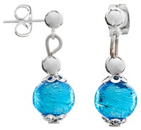 Martick Murano Glass Drop Earrings Silver Turquoise