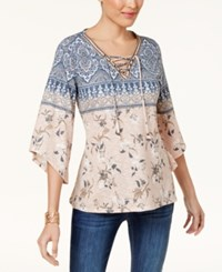 Style And Co Lace Up Peasant Top Created For Macy's Floral Lane