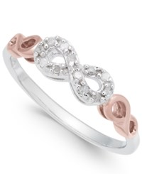 Macy's Diamond Infinity Ring 1 10 Ct. T.W. In Sterling Silver And Rose Gold Plate