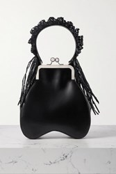 Simone Rocha Bead Embellished Tasseled Raffia And Leather Tote Black