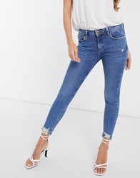 River Island Amelie Raw Hem Skinny Jeans In Mid Wash Blue