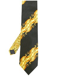 Versace Vintage Baroque Printed Dotted Tie Yellow And Orange
