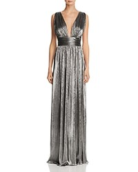 Laundry By Shelli Segal Deep V Neck Metallic Gown Silver