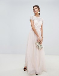 Little Mistress Eyelash Lace Top And Mesh Skirt Maxi Dress With Detachable Belt Pink