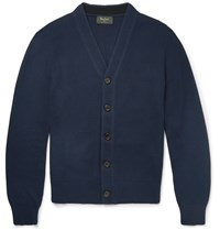 Berluti Honeycomb Knit Silk And Cotton Blend Cardigan Blue