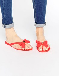 Carvela Star Bow Flip Flops Pink Jelly Rubber