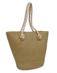 Magid Large Metallic Straw Tote Bag Gold