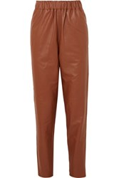 Tibi Leather Tapered Pants Brown