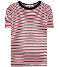 Rag And Bone The Striped Crew Cotton T Shirt Red