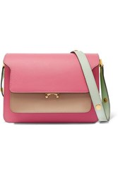 Marni Trunk Small Color Block Textured Leather Shoulder Bag Pink