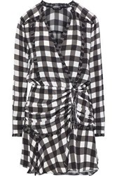 Marissa Webb Kailee Wrap Effect Gingham Silk Crepe De Chine Mini Dress Black