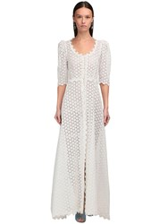 Luisa Beccaria Button Up Linen Eyelet Lace Long Dress White