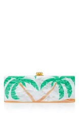 Edie Parker Flavia Palms Clutch Green