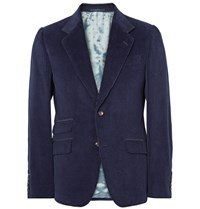Gucci Blue Slim Fit Suede Trimmed Cotton Corduroy Blazer Navy