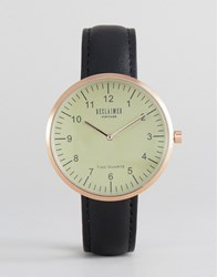 Reclaimed Vintage Dome Leather Watch In Black Black