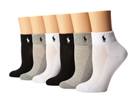 Lauren Ralph Lauren Sport Quarter 6 Pack Assorted Grey White Black Grey White Black Women's Quarter Length Socks Shoes Multi