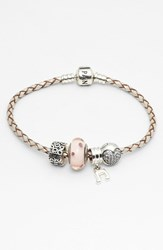 Pandora Design Women's Pandora Woven Leather Charm Bracelet Champagne