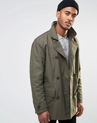 Farah Double Breasted Coat Green