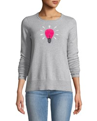 Lisa Todd Lighten Up Textured Lightbulb Cashmere Pullover Sweater W Embroidered Cuffs Gray
