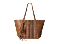 American West Serape Zip Top Tote Medium Brown Autumn Leaves Tote Handbags