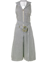 Chloe Pinstriped Dungaree Jumpsuit Women Cotton Polyester 38 Blue