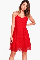 Boohoo Mesh Strappy Dress Red