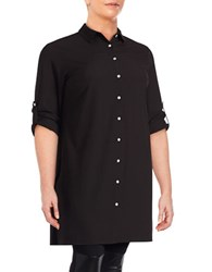 Context Plus Roll Sleeve Button Down Tunic Black