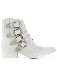 Toga Pulla Buckled Ankle Boots White