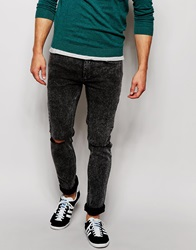 Religion Noize Skinny Fit Acid Wash Jeans With Rips Black