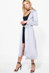 Boohoo Ring Detail Slinky Maxi Trench Silver