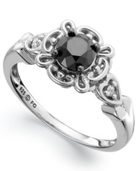 Macy's Sterling Silver Ring Black Diamond 3 4 Ct. T.W. And White Diamond Accent Engagement Ring
