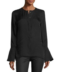 Equipment Kenley Bell Sleeve Silk Shirt Black