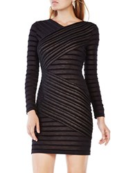 Bcbgmaxazria Jerri Striped Fitted Dress Black