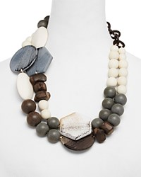 Max Mara Weekend Festoso Plastic Stone Ethnic Necklace 22 Tobacco