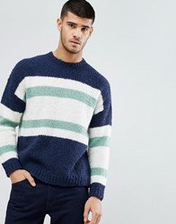 Asos Knitted Jumper With Blocked Stripes In Navy Navy
