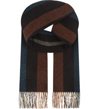 Aspinal Of London Striped Cashmere Scarf Burgundy