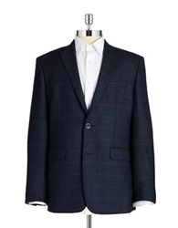 Vince Camuto Checkered Wool Blazer Navy