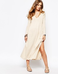Free People Sophie Maxi Dress With Long Sleeves Champagne