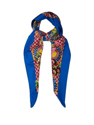 Dolce And Gabbana Carretto Print Silk Scarf Blue Multi