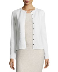 St. John Santana Diamond Knit Cardigan Bright White
