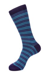 Jared Lang Stripe Print Cotton Blend Socks Purple Blue