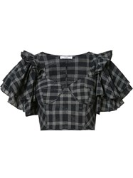 Tome Ruffle Sleeve Cropped Top Women Cotton 6 Black