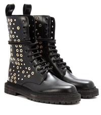 Burberry Aster Eyelet Embellished Leather Boots Black