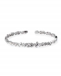 Suzanne Kalan Tilted Baguette Diamond Bangle In 18K White Gold