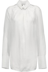 Just Cavalli Pleated Silk Satin And Cotton Blend Poplin Blouse White