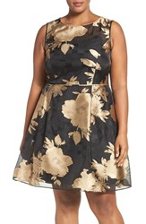 Ellen Tracy Plus Size Women's Metallic Floral Fit And Flare Dress